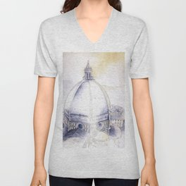 Watercolor of the historic Duomo and cityscape of Florence from atop Giotto's bell-tower- Florence, Unisex V-Neck