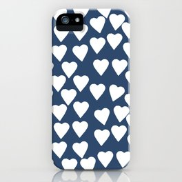 Hearts 3 Navy iPhone Case