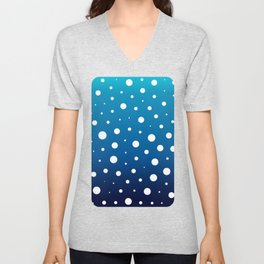 Elegant polka dots - Ocean Blue and White Unisex V-Neck