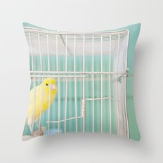 Yellow Bird against Turquoise Wall Throw Pillow