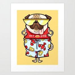 Hot Dog summer pug Art Print