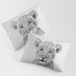 Baby Lion - Black & White Pillow Sham