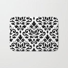 Scroll Damask Big Pattern Black on White Bath Mat