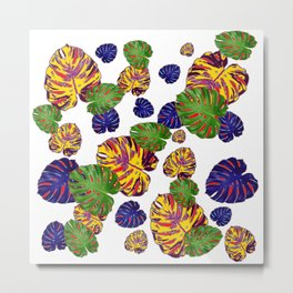 GREEN-GOLD-PURPLE TROPICAL LEAVES ART Metal Print