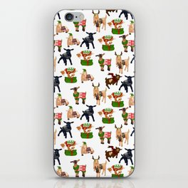 Christmas goats in sweaters repeating seamless pattern iPhone Skin