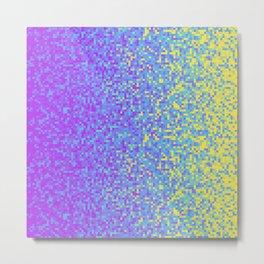 Purple Lilac Yellow Pixilated Gradient Metal Print