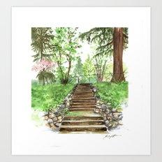 Watercolor Steps Art Print