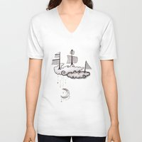 ship V-neck T-shirts featuring SHIP by Jumanaah Hiasat