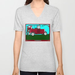 A Man and his Vintage Car Unisex V-Neck