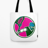 lacrosse Tote Bags featuring Lacrosse Player Crosse Stick Circle Retro by patrimonio