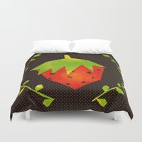 strawberry Duvet Covers featuring Strawberry by Strawberringo