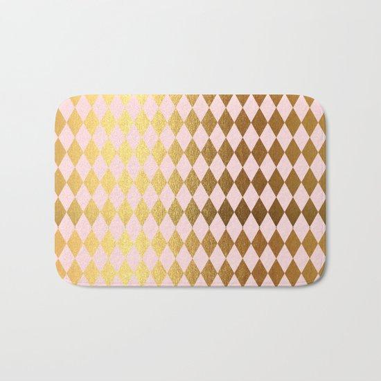 Royal gold on pink backround - Luxury geometrical pattern Bath Mat