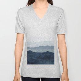 Indigo Abstract Watercolor Mountains Unisex V-Neck