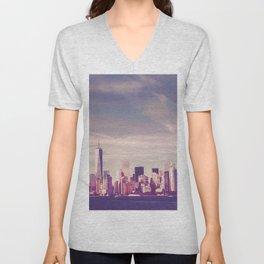 New York City Skyline Waterfront Unisex V-Neck