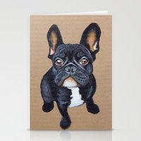 french bulldog Stationery Cards featuring French Bulldog by PaperTigress