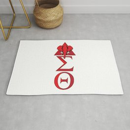Elephant Delta Triangle Sigma Red Theta Rug