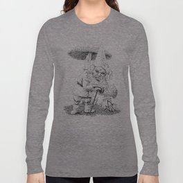 Knobby-caned gnome with mushrooms Long Sleeve T-shirt