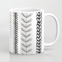black and white stylized leafy vines Coffee Mug