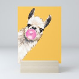 Bubble Gum Sneaky Llama in Yellow Mini Art Print