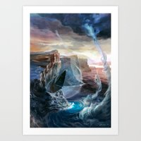 magic the gathering Art Prints featuring Island - Magic: The Gathering by vmeignaud