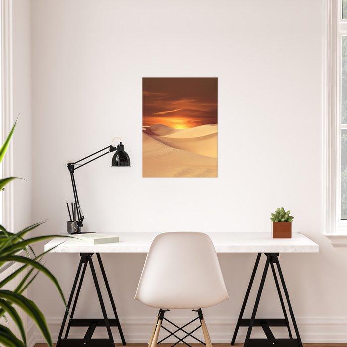 The Sunset On Desert Poster