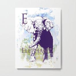 E Elephant Metal Print