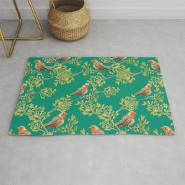 Red Robin & Emerald Green Pattern Rug