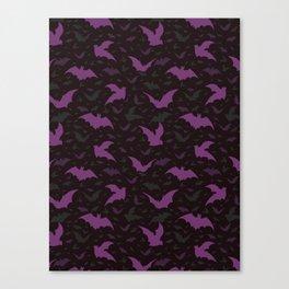 Flying Purple Halloween Bats Vector Pattern Canvas Print