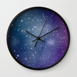 Zodiac Signs Constellations Gradient Shine Wall Clock
