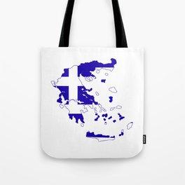 Greece Map Flag Tote Bag