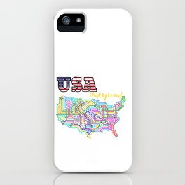 USA Underground with colorful lines iPhone Case
