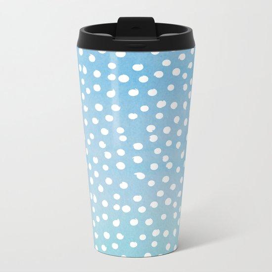 White Dots Polkadots on Aqua Teal Background - Mix & Match Metal Travel Mug