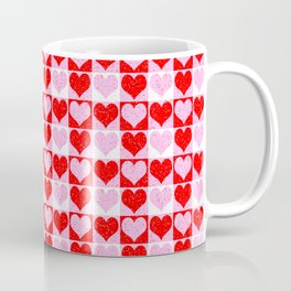 Love Heart Red Pink and White Check Pattern Coffee Mug