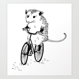 Opossums bike, too Art Print