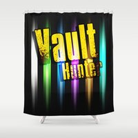 borderlands Shower Curtains featuring Borderlands Tribute -  Vault Hunter by ReverendRyu