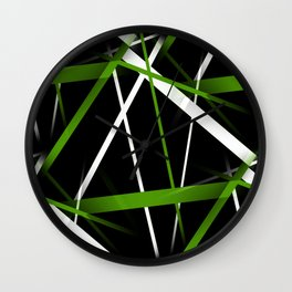 Seamless Grass Green and White Stripes on A Black Background Wall Clock