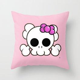 Super Cute Rebel Kawaii Skull Throw Pillow