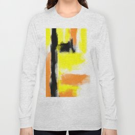 orange yellow and black painting abstract with white background Long Sleeve T-shirt