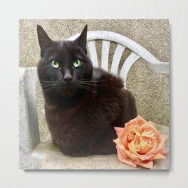 Luna the black queen of roses Metal Print