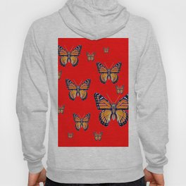 RED ART MONARCH BUTTERFLIES Hoody