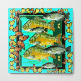 MONARCH BUTTERFLIES OCHER  FISH TURQUOISE BLUE ART Metal Print