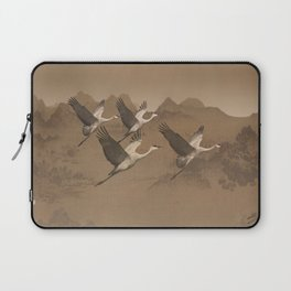 Cranes Flying Over Mongolia Laptop Sleeve
