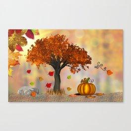 Autumn Squirrel Scene Canvas Print