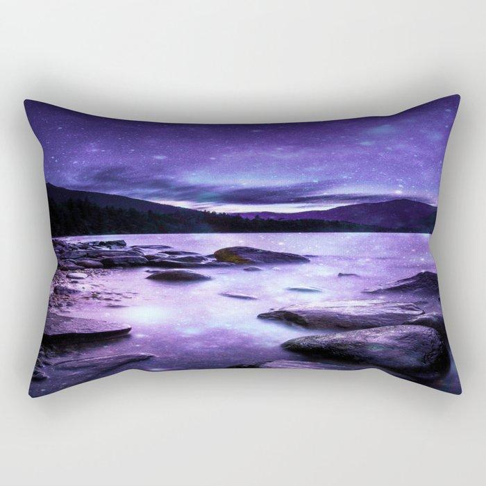 Magical Mountain Lake Purple Rectangular Pillow
