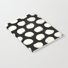 Trendy Cream Polka Dots on Black Notebook