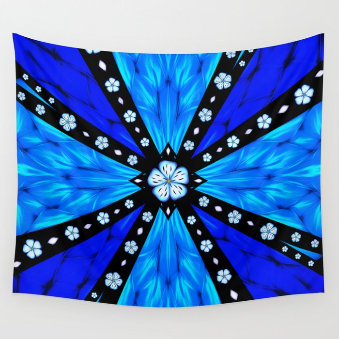 Onyx Beams of Flowers and Gems Wall Tapestry
