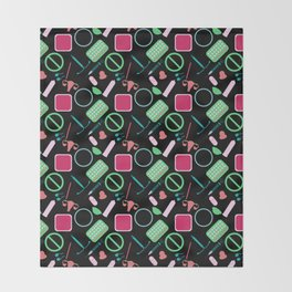 Contraception Pattern (Black) Throw Blanket