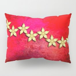 Spectacular gold flowers in red and black grunge texture Pillow Sham