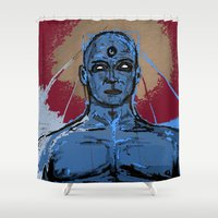 watchmen Shower Curtains featuring indecent exposure by Melvin Pena