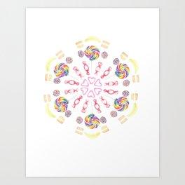 Confectionary Kaleidoscope Pattern Art Print
